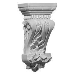 """Ekena Millwork - 4 3/4""""W x 3 1/8""""D x 9 3/4""""H Salo Corbel - 4 3/4""""W x 3 1/8""""D x 9 3/4""""H Salo Corbel. These corbels are truly unique in design and function. Primarily used in decorative applications urethane corbels can make a dramatic difference in kitchens, bathrooms, entryways, fireplace surrounds, and more. This material is also perfect for exterior applications. It will not rot or crack, and is impervious to insect manifestations. It comes to you factory primed and ready for your paint, faux finish, gel stain, marbleizing and more. With these corbels, you are only limited by your imagination."""