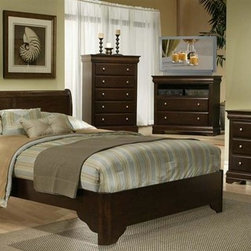 Alpine Furniture - 5 Pc Chesapeake Collection Bedroom Set (Queen - Choose Bed Size: QueenSophisticated and modern with a sleek, stylish look, this five-piece Chesapeake Collection bedroom set will be an appealing addition to your home's decor. Constructed of rubberwood solids and select veneer in cappuccino finish, the set includes a sleigh bed, a dresser and mirror, a chest of drawers and a nightstand. Includes panel bed, two nightstands, mirror and dresser. TV chest and chest not included. Nightstand with two drawers. Made from rubberwood solids with select veneer. Warranty: Six months on manufacturer's defects only. Bed: 44 in. H. Nightstand: 22 in. W x 16 in. D x 24 in. H. Mirror: 38 in. W x 38 in. H. Dresser: 61 in. W x 18 in. D x 34 in. H