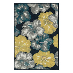"""Loloi Rugs - Loloi Rugs Oasis Collection - Navy / Multi, 2'-3"""" x 3'-9"""" - Boldly designed and brightly colored, our Oasis Collection transforms any outdoor space into a modern patio paradise. This collection is power loomed in Egypt, ensuring precision in color and design for each and every piece. And because the 100% polypropylene yarns are specially tested to withstand UV rays and rain, it's the perfect all-weather rug."""