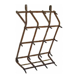 Iron Farm Rack - Hangs flat against the wall all the way to bottom with interesting zig zag shape. With the two large loop hooks on the top, it would be fantastic hung on an iron rod. The spikes are large and can handle larger heavier items, use your imagination on this one!! Tack room, coat room, pool house...