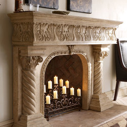 """Horchow - Caesar Mantel - Caesar MantelDetailsEXCLUSIVELY OURS.Mantel made of cast stone with an aged finish.May be used indoors or out.Easy to assemble.72""""W x 15""""D x 50""""T with 34.75""""W x 32.25""""T opening.Imported.Boxed weight approximately 234 lbs. Please note that this item may require additional shipping charges.Like a wood mantel this stone/resin mantel should not come into direct contact with flames. An appropriate buffer or setback typically granite marble slate or some other non-combustible material should be placed between the firebox and the mantel. Check your local building code requirements to ensure your fireplace is in compliance.Mantel must be securely mounted to wall for stability; professional installation is strongly recommended. Some assembly required; includes mounting hardware and instructions. Depending on wall material special tools may be required for assembly.Why we choose manmade materials.Today's composite casting materials offer an unparalleled value for outdoor decorating:Great looks. They can be textured and finished to perfectly replicate a variety of natural materials at a significantly lower price.Mobility. Substantial enough to stand up to wind and weather yet at approximately one-fourth the weight of cement or stone can be easily relocated for changes in landscape or design preference.Easy care. Not susceptible to mold mildew or other problems common to natural materials."""