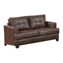 Adarn Inc - Samuel Tapered Arms Wood Block Feet Attached Cushions Loveseat, Dark Brown - This contemporary bonded leather love seat will give your living room a fresh style. The simple piece has high plush tufted back cushions and deep t-cushions on the seat, making this a comfortable place to rest. Sleek track arms and square tapered wood feet complete the look. This love seat will blend easily with your home decor.