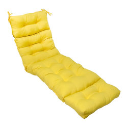 None - 72-inch Outdoor Sunbeam Chaise Lounger Cushion - This sunny-yellow,outdoor cushion adds an extra layer of comfort to most standard chaise loungers. Its fabric cover is weather-resistant and UV protected to prevent fading or fiber breakdown. Durable poly fill is made from recycled plastic bottles.