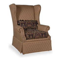 A.R.T. - A.R.T. Serena Skirted Wing Chair in Gold - Experience true comfort with the plush pillow soft seating from Serena Collection that allows you to seat back and relax. With superior foam seats that ensure comfort from head to toe, enhanced by padded backs and generous arms. Classically carved wooden arms and feet add a sophisticated touch to the traditional designs, and the rich tones of gold on the upholstered fabric ensure the pieces will complement any home. Take home the whole collection for the ultimate living room space, or pick your favorite piece to stake your claim on the best seat in the house.