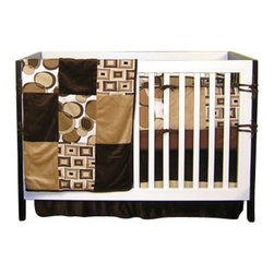 "Trend Lab - Brown Bubbles - Crib Bedding Set (4 Pc.) - Brown Bubbles is a sixteen patch coverlet featuring floating circles print, optic squares print and two brown tones as accents.  Set includes fitted 100% cotton woven light brown sheet, 15"" drop flat panel box pleat skirt of solid chocolate velour with tan accent band, four seperate bumpers in cushion style, patched bumper uses all fabrics including the optic squares print and floating circles print alongside the two brown tones.  Bumper has chocolate velour trim and ties."