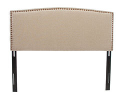 Great Deal Furniture - Mandston Queen to Full Size Canvas Fabric Bed Headboard - Spruce up the look of your bedroom with this simple furniture accessory. The Mandston headboard is upholstered with canvas colored fabric and is accented with nailhead studs, making for a charming headboard for your bedroom. It can attach to almost any queen or full sized bed, as well as adjust according to the height of your mattress.