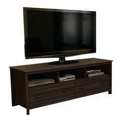 South Shore - South Shore Exhibit Transitional Style TV Stand in Mocha - South Shore - TV Stands - 4479677 - This Exhibit TV Stand in Mocha Brown finish features 3 wide and open storage compartments that ensure adequate ventilation for electronic devices. In addition it comes with 2 spacious drawers equipped with metal slides and antique pewter finish metal handles. Its horizontal moldings contemporary and functional aesthetic will really help enhance your living-room.  It accommodate a television up to 60-inch and can support up to 150 pounds. The interior drawer dimension is 26-3/4-inch by 14-1/4-inch front to back and 6-1/4-inch high. New and improved drawer bottoms made with wood fiber. The back surface is not laminated. Accessories not included. Manufactured from certified Environmentally Preferred laminated particle panels. Complete assembly required by 2 adults. Tools are not included.  5-Year limited warranty.