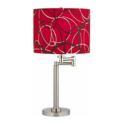 Design Classics Lighting - Swing Arm Table Lamp with Red and Grey Drum Shade - 1902-09 SH9518 - Satin nickel finish adjustable table lamp with red and grey patterned drum lamp shade. The swing arm has a maximum 9-inch extension. Features a red with white and gray wave pattern drum shade. Takes (1) 100-watt incandescent A19 bulb(s). Bulb(s) sold separately. UL listed. Dry location rated.