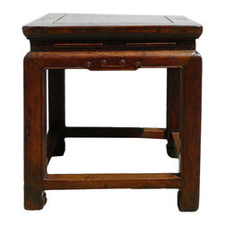 Golden Lotus - Chinese Square Wood Stool Stand - This is an old traditional oriental stool in square shape. It is decorated with letter Chinese detail on the leg and apron.