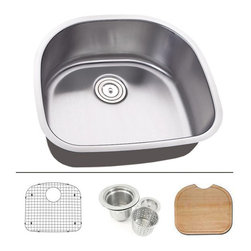 "TCS Home Supplies - 23 Inch Stainless Steel Undermount Kitchen / Bar / Prep Sink D-Bowl - Undermount Kitchen / Bar / Prep Sink. Sink comes with Matching Protective Grid, Deluxe Basket Strainer, Eco-Friendly Bamboo Cutting-board for FREE! Dimensions 23-1/2"" x 21-1/4"" x 9-1/2"". 16 Gauge Stainless Steel. Brushed Satin Stainless Steel Finish."