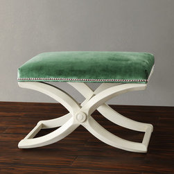 Imperial Green Velvet Bench With Nailhead Detail - This X-base stool is elegant and affordable. Two at the end of a bed would be amazing.