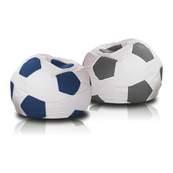 Turbo BeanBags - Beanbag Soccer - M, White And Grey, Filled Bag - The Soccer Ball Beanbag is one of the newest products from Turbo BeanBags. Because of its size it's a comfortable chair to sit for a child or make a great addition to a children's room decor. An amazing gift for kids by its innovative design.