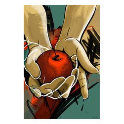 "Maxwell Dickson - Maxwell Dickson ""Temptation"" Wall Art Canvas Print Pop Art Graffiti - We use museum grade archival canvas and ink that is resistant to fading and scratches. All artwork is designed and manufactured at our studio in Downtown, Los Angeles and comes stretched on 1.5 inch stretcher bars. Archival quality canvas print will last over 150 years without fading. Canvas reproduction comes in different sizes. Gallery-wrapped style: the entire print is wrapped around 1.5 inch thick wooden frame. We use the highest quality pine wood available."