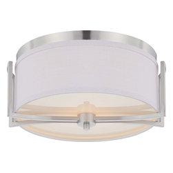 Nuvo Lighting - Nuvo Lighting 60-4761 Gemini 2-Light Flush Dome Fixture with Slate Gray Fabric - Nuvo Lighting 60-4761 Gemini 2-Light Flush Dome Fixture with Slate Gray Fabric Shade