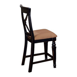 Hillsdale Furniture - Hillsdale Northern Heights Non Swivel Counter Stool (Set of 2) in Black & Honey - The Northern heights non-swivel stools are graced with sophisticated French country inspired carved legs and accented with a versatile fabric seat. The backs have a criss-Cross-Cross design that will enhance any formal or casual decor.