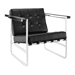 LexMod - Serene Stainless Steel Lounge Chair in Black - Usher in growing levels of elegance with the Poise Lounge Chair. Most recognized by the belt-strap vinyl armrests, Poise is a piece that moves you without detracting from the art of leisure. The dynamic nature of Poise is a testament to the convergence of various design mechanics. From the padded vinyl cushions upholstered with inset buttons, to the round stainless steel tubing with PVC support straps, we arrive at one chair with one clear message of rest amidst graceful progress. Poise is a contemporary lounge chair perfect for living, lounge, and reception areas.