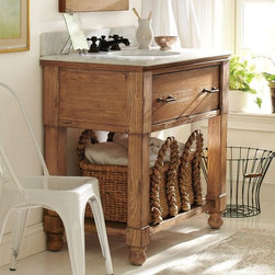 William Single Sink Console - This is a charming weathered pine vanity that would work in modern cottage environments. It comes with a honed Carrara marble top.