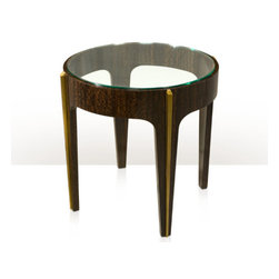 Theodore Alexander - Bold Lamp Table - A fumed Eucalyptus veneered and brass mounted lamp table, the circular tempered glass inset top within a bold veneered frieze, the gently tapered legs with bold brass mouldings. Inspired by an Art Deco original.