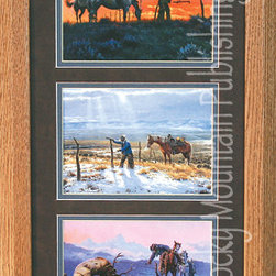 Rocky Mountain Publishing - Mending Fences, Clark Kelley Price Cowboy Art Framed Set - Natural  lighting  plays  an  important  role  in  creating  the  movement  of  these  combined  images  in  this  cowboy  art,  Mending  Fences  Triple.  The  glory  of  a  sunrise,  the  filtering  of  light  through  the  clouds,  and  the  chill  of  a  late  sunset  all  convey  emotion  as  you  look  upon  the  images  of  a  cowboy's  activities  in  winter.  This  outdoor  art  piece  clearly  displays  the  harshness  the  elements  can  have  and  the  dedication  of  the  cowboy  as  he  tends  to  his  duties  on  the  range,  or  the  cowboy  hunter  freeing  an  elk  entangled  in  a  fence.  With  beautiful  landscapes  for  the  backdrop  these  images  combined  create  a  great  reflection  of  winter  in  the  west.                  Dimensions:  Glass  and  Matting  measure  10x20  inches;  Exterior  Frame  dimensions  approximately  16x26  inches              Handsomely  matted  and  framed;  Glass  included              Hardware  for  hanging  is  pre-installed              Treated  with  a  protective  coat  of  acid-free  sealant              Artist:  Clark  Kelley  Price;  Allow  2  weeks  for  shipping