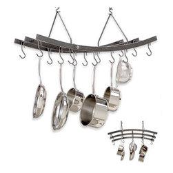 "Enclume - Premier Reversible Arch Pot Rack Hammered Steel - Dimensions: 34""L x 16""W x 17""H"