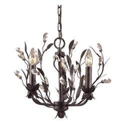 ELK - ELK 8058/3 Chandelier - The Magnetic Influences Of This Winter Garden Collection Is The Intertwined Branches Accented By Delicately Cradled Crystals That Resemble Frozen Water Droplets.  This Collection Is Featured In A Deep Rust Finish.