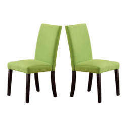 "Adarn Inc. - Set of 2 Parson Dining Chairs Microfiber Covered Seat Espresso Leg, Apple Green - A deep espresso base shaped in a unique ""x"" design supports this luminous round table top made of clear beveled glass making it an extraordinary piece for any contemporary decorated dining room. Pair the magnificent structure with equally vivid seating. Each chair is crafted in the Parson design and covered in microfiber with espresso finished legs. Select your seating available in vibrant hues that include saddle, hazelnut, orange or apple green."
