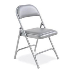 Virco - Folding Chair in Silver Mist Vinyl Finish - Folding chair. Vinyl upholstered seat and back. Front and rear leg braces. GREENGUARD Certified. Made from steel. Seat height: 16.75 in.. Overall: 17.75 in. W x 18.75 in. D x 29.5 in. H (9.6 lbs.)