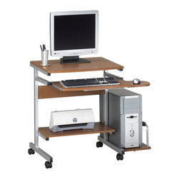 Mayline - Mayline Eastwinds Portrait Mobile Wood Computer Desk with Mid-Back Office Chair - Mayline - Computer Desks - 946PKG - Mayline Eastwinds Portrait Mobile Wood Computer Desk with Mid-Back Office Chair