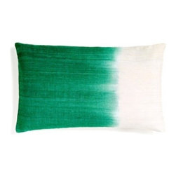 5 Surry Lane - Green Ombre Dip Dye Silk Lumbar Pillow - Saturated colors are juxtaposed with creamy ivory in this ombre-hued pillow. The striations of color from the dyeing process give it a hand-painted feel. In your formal living room, it will add a spark of jewel-toned color.