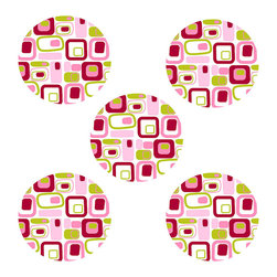 Brewster Home Fashions - Retro Pink Circle Self-Stick 5-Piece Wall Accent Stickers - Features: