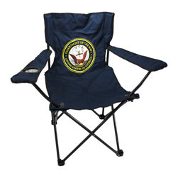Zeckos - U.S. Navy Folding Camping Chair Camp USN - This super cool United States Navy folding camp chair has a heavy duty steel frame and a heavy 600 denier nylon seat to give you years of use. The chair holds up to 275 pounds easily, and has hard plastic feet to keep you sturdy. The feet have holes in the bottoms, so you can keep it in place with tent stakes if you wish. The chair measures 32 1/2 inches tall, 32 inches wide and 19 inches deep. This folding camp chair is brand new, never used, and makes a great gift for any current or former Naval serviceperson.