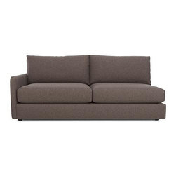 Drake Left Arm Sectional Sofa - A livable mix of family-friendliness and easy elegance with modern European roots. Upholstered in a chunky basketweave of warm heathered greys, the Drake collection offers a host of deep-seated, plump, cushioned pieces for custom lounging solutions in any space.