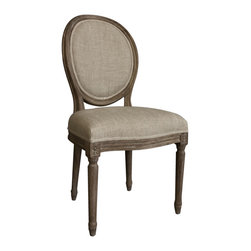 Casual Living Vintage French Round Back Upholstered Linen Dining Chairs - This reproduction vintage French dining chair captures the elegant restraint symbolic of neoclassicism.