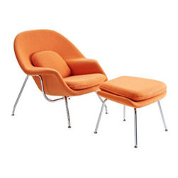 "LexMod - W Lounge Chair in Orange - W Lounge Chair in Orange - Concerted efforts run deep in the expansively designed Womb Chair. First intended as a chair you can curl up in,  it has since become a symbol for organic living. The natural motif portrays growth amidst silent resolve. Perhaps this is what makes the Womb both a reception and a lounge chair. Each of us would like to find our place as it were. Whether this means feeling welcomed in by the reception halls of businesses, or feeling welcome to relax into our own homes. While mid-century modernism showed us how to embark into the age of discovery, this finely upholstered classic taught us how to contemplate upon it. The shell of the Womb chair is made of molded fiberglass with foam padding. The legs are stainless steel and come with foot caps to prevent scratching on floors. Set Includes: One - Matching Ottoman One - W Lounge Chair Reinforced Fiberglass Shell, Includes wool with foam core, Stainless Steel Frame Chair Dimensions: 38""L x 38.5""W x 35""H Ottoman Dimensions: 22""L x 25""W x 18""H Seat Height: 16.5 - 17""H Armrest Height: 22""H - Mid Century Modern Furniture."
