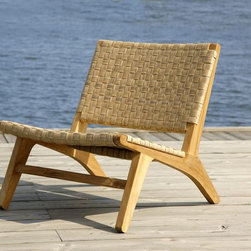Outdoor Furniture - Based on the designs of mid century Danish designer Hans Wegner. This mid century lounge chair we call the Jasper Lounge chair, Grade A plantation teak and all weather synthetic wicker.