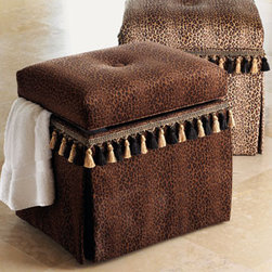 """Massoud-Storage Hampers - Storage doesn't have to be boring when it comes in the form of a fun cheetah-print.  This piece will also double as a vanity stool.  Each hamper is 17""""W x 14""""D x 16""""T. USA made."""