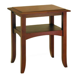 Winsome - Craftsman End Table with Shelf - Slightly crafted with flare-tip legs and traditionally profiled trim. Warmth walnut finish. Single shelf offers the nice spot to display d�cor items. Match with Hall Table & Coffee table for collection.