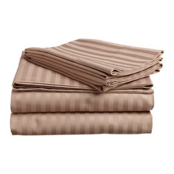 650 Thread Count Egyptian Cotton Queen Taupe Stripe Sheet Set - 650 Thread Count Egyptian Cotton oversized Queen Taupe Stripe Sheet Set