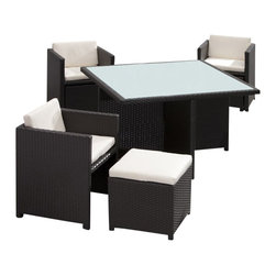 ZUO - Zuo Naples Outdoor Nesting Table Set - Space efficient, beautifully designed and oh so practical, this outdoor nesting table set is an insta-outdoor fiesta in a big box! The set includes a table, four chairs and four cushioned ottomans. The ottomans and chairs fit snugly under the table, add the signature weather resistant and UV materials and your patio party is in business.