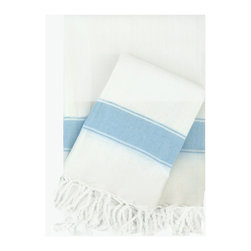 Turkish-T - Super Soft Bath Towel with Fringe,  White/Blue - This Turkish bath towel is made from 100 percent long cotton staple fibers, so it's supple to the touch and becomes even softer with repeated use. The durable, flat-woven design maintains its shape, and is available in a selection of soft, breezy colors — each finished with fringe to add Mediterranean allure to the bath, pool or spa.