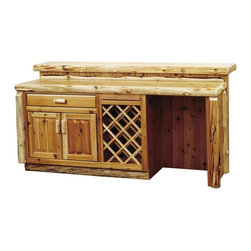 Fireside Lodge Furniture - Cedar 7 ft. Log Bar in Lacquer Finish (Left) - Choose Refrigerator Orientation: LeftCedar Collection. 1 Drawer. 1 Fixed shelf in lower cabinet for extra storage space. Wine rack. Foot rail. Liquid glass finish on bar top. Inset drawer with roller slides rated at 100 lbs.. Northern White Cedar logs are hand peeled to accentuate their natural character and beauty. Clear coat catalyzed lacquer finish for extra durability. 2-Year limited warranty. 84 in. W x 40 in. D x 42 in. H (500 lbs.). Refrigerator opening: 21.5 in. W x 33.25 in. H x 21 in. D