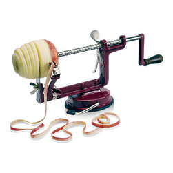 """Paderno World Cuisine - Apple Peeler with Suction Cup - The Paderno World Cuisine Apple Peeler peels, slices, and cores at once. The body is make of steel and the blades of stainless steel. The peeler comes with a suction cup to securely grip the work surface; The machine peels,slices, and cores apples at once; Durable steel body; With stainless steel blades; Esay to use; Comes with a suction cup to securely grip the work surface; Weight: 0.1 lb; Made in Taiwan; Dimensions: 8.0""""H x 8.0""""L x 6.0""""W"""
