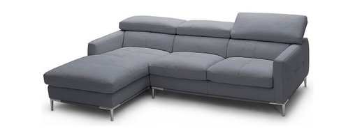 "JNM Furniture - Italian Gray Leather Sectional Sofa With Adjustable Headrest, Left Facing Chaise - The 1281 Italian Leather sectional sofa set is fashionable and stylish. Available in  gray, black, white top grain italian leather. The seats and back cushions are made of high density foam to give you extra comfort and support. Modern, and comfortable. Full leather all around, and double stitched for quality. This configuration is only 92"" in length and great for any apartment, or studio."