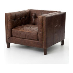 Four Hands - Abbott Club Chair - The strong lines and ultimate luxury of this chair will make it a favorite in your traditional home. Inspired by the libraries of turn-of-the-century American aristocracy, it is impeccably crafted and covered in the finest top-grain, aniline-dyed leather.