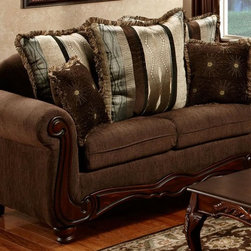 Chelsea Home - Loveseat with Pillow - Traditional style. Fringe, contrasting pillows. Aiden camel fabric over high-density cover. Seating comfort: Medium. Plush, rolled arms. Dacron wrapped foam reversible seat cushions. Zippered cushions. 8.5 gauge medium loop sinuous springs spaced 5 in. apart. 1.8 density foam with 0.75 of fiber wrapping. Ornately carved wood trim. Fabric contains: 100% polyester. Made from mixed hardwoods and plywood. Made in USA. No assembly required. Seat: 46 in. L x 25.5 in. W x 22 in. H. Overall: 69 in. L x 34 in. W x 36 in. H (135 lbs.)The Chelsea Home Furniture Henrietta Collections brings sense of Victorian elegance to any living room area. This beautiful set, by Chelsea Home Furniture, epitomizes Chelseas legendary reputation for quality and comfort.