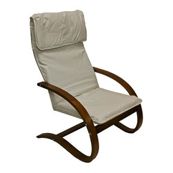 International Caravan - 39 in. Wooden Lounge Chair (Ivory) - Choose Upholstery: IvoryIvory faux leather upholstered seat. Made from bentwood. Walnut wood finish. Assembly required. 31 in. W x 26 in. D x 39 in. H (18 lbs.)Perfect for game rooms, living areas and bedrooms.