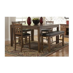 Homelegance - Kirtland 5-Pc Counter Height Dining Table Set - Includes table and four counter height chairs. Bench sold separately. Rectangular shape table. One butterfly leaf. Horizontal and vertical slat back. Bi-cast vinyl upholstery. Tapered legs. Made from oak veneers. Warm oak finish. Table minimum: 61 in. L x 49 in. W x 36 in. H. Table maximum: 61 in. L x 61 in. W x 36 in. H. Chair: 19.5 in. W x 21.25 in. D x 41 in. HFor your casual dining space, the Kirtland Collection provides ample seating for your family and friends.