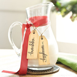 Ballard Designs - Holiday Beverage Tags - Set of 6 - Printed on sealed wood for moisture-resistance. Jute string hangers. Drawstring jute gift bag. Perfect hostess gift. These fun beverage tags tie around the neck of a Beverage Jar or to label your holiday libations. They're great for setting up a self-serve beverage station at your next Christmas party. Beverage Tag features: . . . .