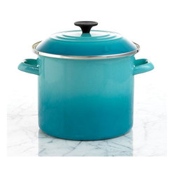 Le Creuset Enameled Steel Stock Pot, Caribbean