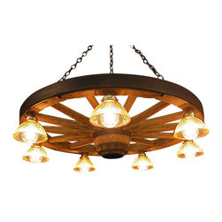 Muskoka Lifestyle Products - Large Wagon Wheel Chandelier with Down Lights - The Wagon Wheel Reproduction Chandelier with a rustic finish is the perfect addition to any room to provide a western look with an authentic feel. The process to create the antler chandeliers uses a time proven, cast resin system to ensure perfection in every piece; we have used the same process for the wagon wheels. The wheel is a casting reproduction with hand-stained and rubbed finish to achieve the rustic antique finish and feel. Bring the perfect rustic decor to your home, cabin, or office with these chandelier reproductions. From the large majestic options to the quiet accent lights, our reproduction chandeliers are perfect for entry ways, pool tables, dining room tables, living rooms, offices, or anywhere you want to hang them to create the perfect, natural look in any room. All chandeliers are UL listed to ensure absolute safety, quality, and US building code parameters are met.